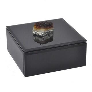 Three Hands Wood Box W/Agate Stone - Black
