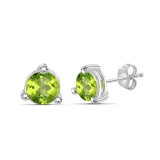 JewelonFire 1.50 Carat Genuine Peridot Stud Earring in Sterling Silver