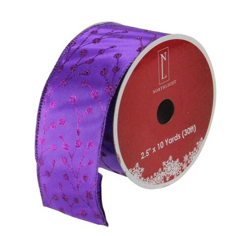 Purple Tree Wired Christmas Craft Ribbon