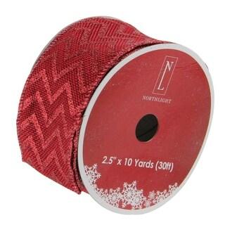 Red Chevron Burlap Wired Christmas Craft Ribbon