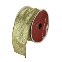 Sparkling Solid Gold Wired Christmas Craft Ribbon