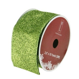 Lime Green Solid Wired Christmas Craft Ribbon