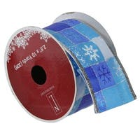 Squares of Snowflake Wired Christmas Craft Ribbon