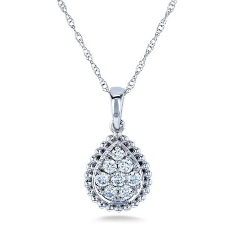 Annello by Kobelli 10k White Gold 1/4ct TDW Pear Shaped Pendant and Chain