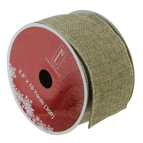 Green & Brown Burlap Wired Christmas Craft Ribbon