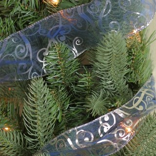 Blue & Silver Swirls Wired Christmas Craft Ribbon