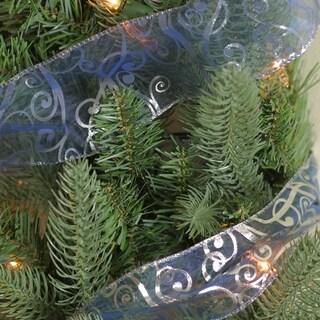 Blue & Silver Swirls Wired Christmas Craft Ribbon