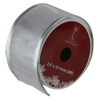 Textured Silver Wired Christmas Craft Ribbon