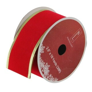 Solid Bright Red Gold Wired Christmas Craft Ribbon