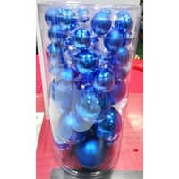 """40-Piece Blue Glass Ball Christmas Ornament Set 1"""""""