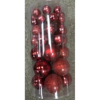 40-Piece Red Glass Ball Christmas Ornament Set 1""