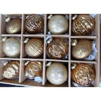 Gold Assorted Distressed Finish Glass Ornament Set