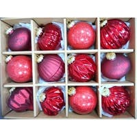 Red Assorted Distressed Finish Glass Ornament Set
