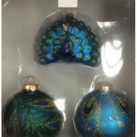 3ct Peacock Design Glass Christmas Ornament Set