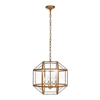 Caro Collection Vintage Gold Finish Iron Glass 3-light Pendant
