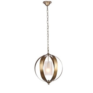 Marion Collection Vintage Sliver Finish Metal with Glass Shade 19-inch High 1-light Pendant