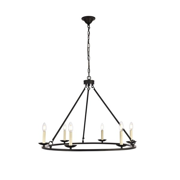 Maine Collection Chandelier D32.4 H23.25 Lt:6 Black Finish - N/A