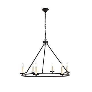 Maine Collection Chandelier D32.4 H23.25 Lt:6 Black Finish