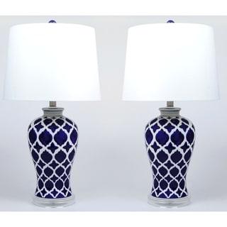 Anila Ceramic Blue and White Lamp Set of 2 - 26 inch