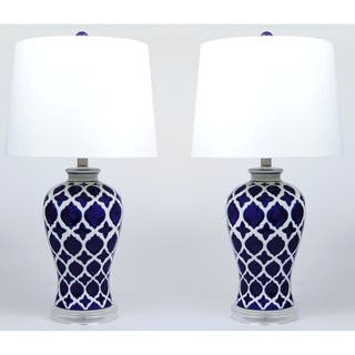 Anila Ceramic Blue and White Lamp Set of 2 - 26 inch|https://ak1.ostkcdn.com/images/products/18057748/P24221288.jpg?impolicy=medium