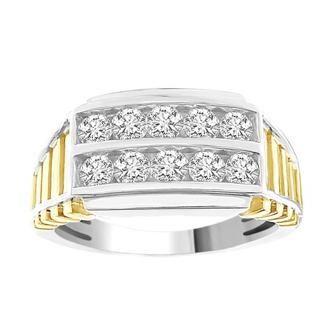 Mens Band Ring 1.00CT Round Diamond TwoTone 10kt