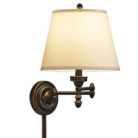 Aztec Lighting Traditional 1-light Pin-up, Plug-in Oil Rubbed Bronze Wall Sconce