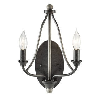 Aztec Lighting Transitional 2-light Anvil Iron/Distressed Antique Grey Wall Sconce