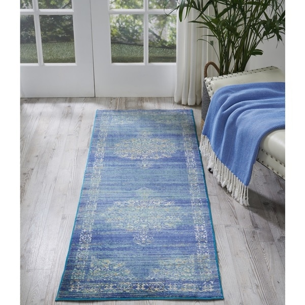 Shop Nourison Cambria Traditional Teal Runner Rug