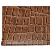 AFONiE Classic Leather Bifold Wallet with Flip ID - Brown