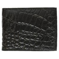 AFONiE Classic Leather Bifold Wallet with Flip ID - Black