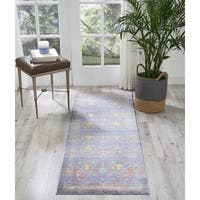 Nourison Cambria Navy/Red Traditional Runner Rug (2'X5'11)