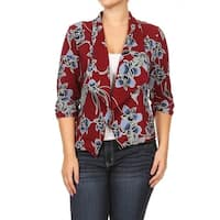Women's Plus Size Embroidered Floral Cardigan