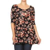 Women's Plus Size Black Floral Pattern Top