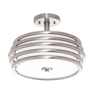 Aztec Lighting Contemporary 2-light Brushed Nickel Semi-Flush Mount