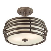 Aztec Lighting Contemporary 2-light Olde Bronze Semi-Flush Mount
