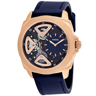 Fossil Men's Privateer Mechanical Semi-Skeleton Blue Leather Watch