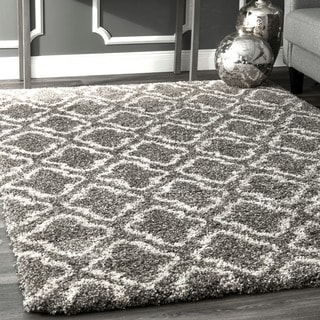 nuLoom Luxuries Brown/Ivory Moroccan-inspired Geometric Clover Trellis Shag Rug (5' x 8')