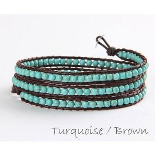 "Mint Jules Metalic Leather & Stone Cluster Tripple (3) Wrap Bracelet 20""-21"" Adjustable"