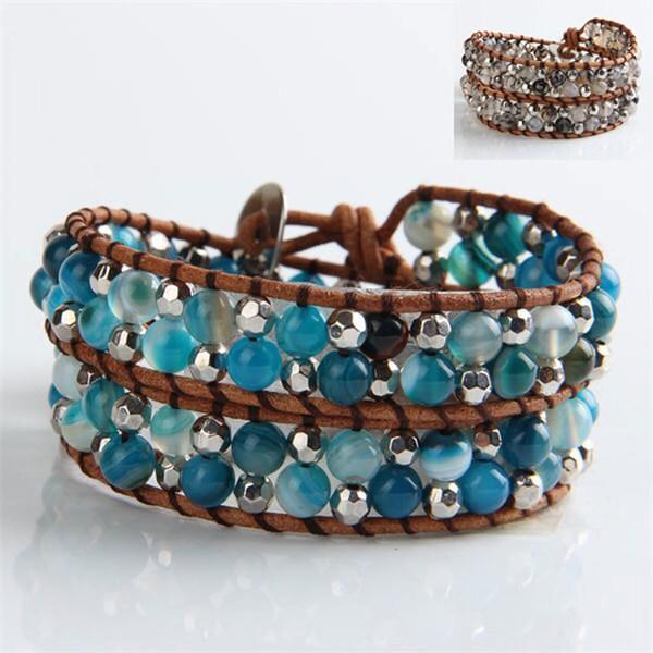 "Mint Jules Stone, Bead, & Leather Cluster Double Wrap Bracelet 14""-16"" Adjustable"
