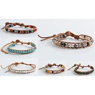 Mint Jules Spanish Style Single Wrap Stone & Leather Wrap Bracelet