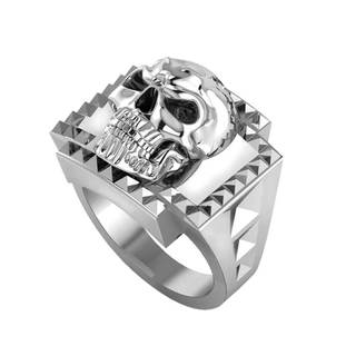 Sterling Silver Skull Ring with Studs