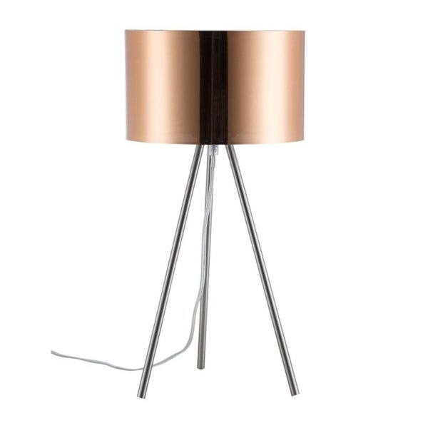 Euro Style Collection Lisboa 20 Inch Tripod Copper Sahde Table Lamp