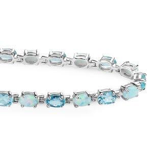Sterling Silver 9.07 CTTW Sky Blue Topaz and Created Opal Tennis Bracelet