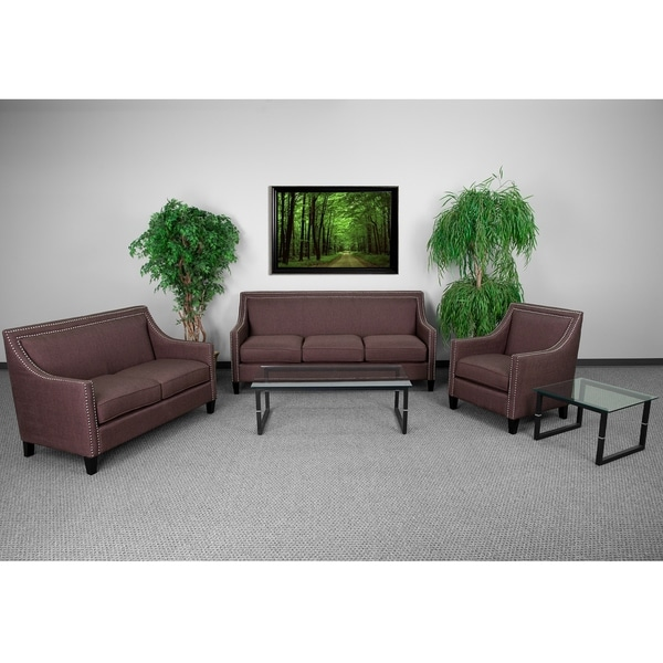 Madison Modern Brown Fabric 3-piece Living Room Set with Nailhead Trim