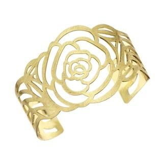 Isla Simone Brushed Gold Tone Cut-Out Rose Bangle Bracelet