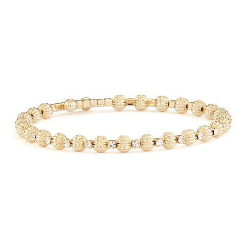Isla Simone 14K Yellow Gold Plated Flex Bangle Bracelet with Alternating White Crystals and Round Beads