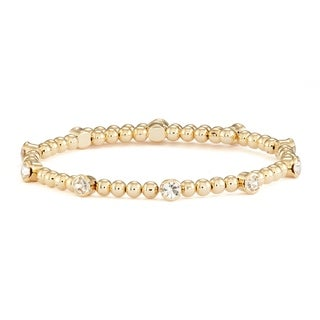 Isla Simone 14K Yellow Gold Plated Wrap Bangle Bracelet with Crystals and Polished Round Beads