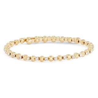 Isla Simone 14K Yellow Gold Scalloped Beaded Wrap Bangle Bracelet with White Crystals