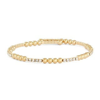 Isla Simone 14K Yellow Gold Plated Bangle Bracelet with Crystals and Polished Round Beads