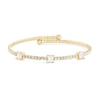 Isla Simone 14K Gold Plated Large Square Station Wrap Bangle Bracelet with White Crystals
